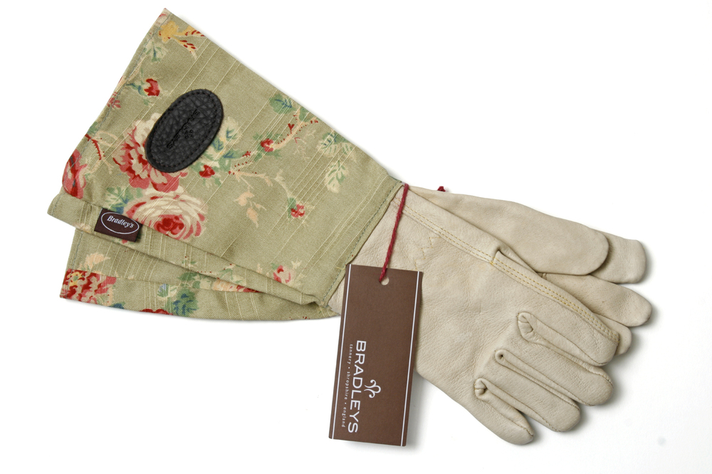 Ladies leather gaunlet style garden gloves with linen rose for Gardening gloves ladies