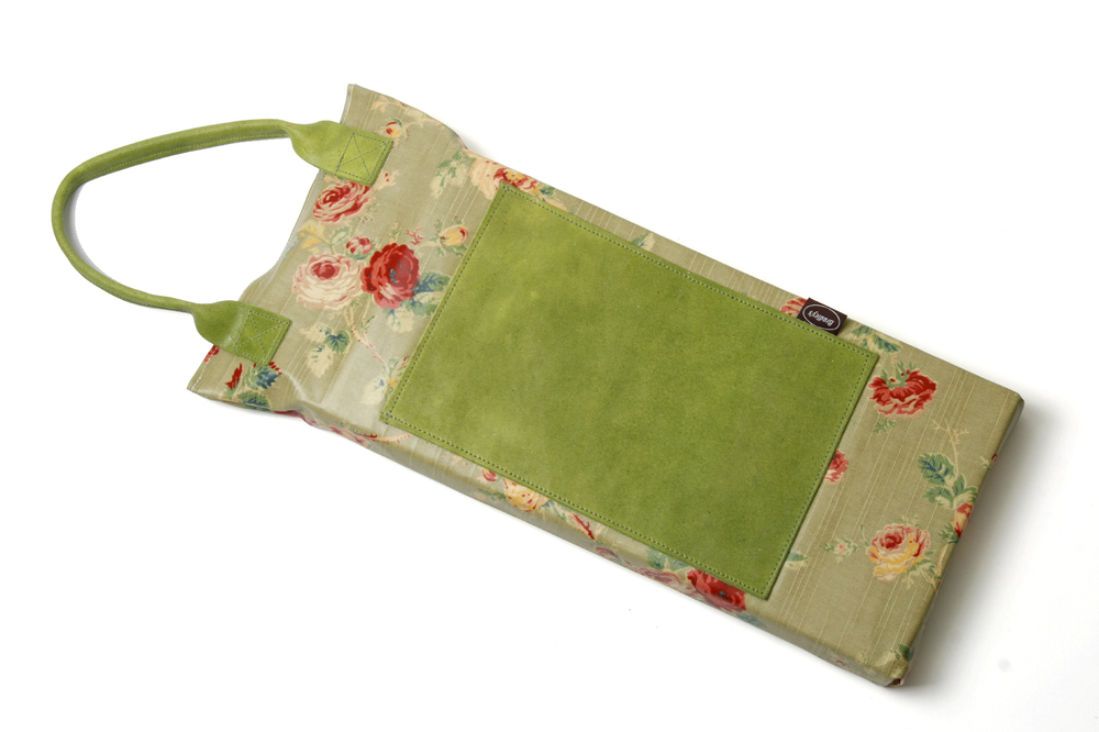 waterproof rose linen garden kneeler with leather handles